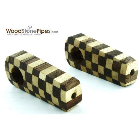 "2"" Checkerboard Wood Tobacco Pipe with Brass Screen - WoodStonePipes.com   - 6"