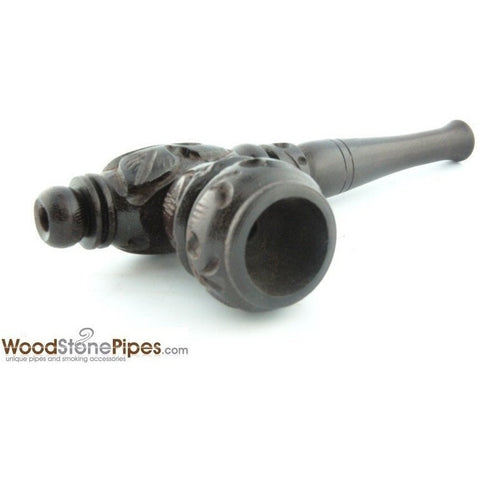 "4"" Carved Collectible Ebony Wooden Handmade Smoking Tobacco Pipe - WoodStonePipes.com   - 2"