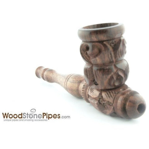 "4"" Carved Collectible Rosewood Handmade Tobacco Smoking Pipe - WoodStonePipes.com   - 8"