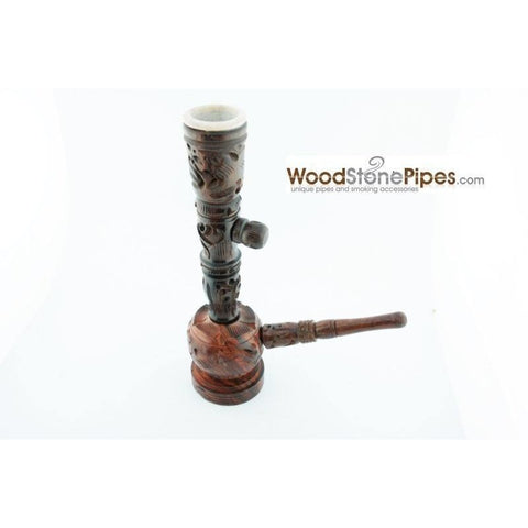 "6.5"" Carved Rosewood Tobacco Pipe 3 in 1 with Stone Bowl - Hookah Style Pipe - WoodStonePipes.com   - 3"