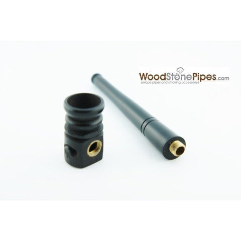 "Mini Pipe Black Ebony Wood Handmade Carved Collectible Smoking Tobacco Pipe - 4"" - WoodStonePipes.com   - 4"