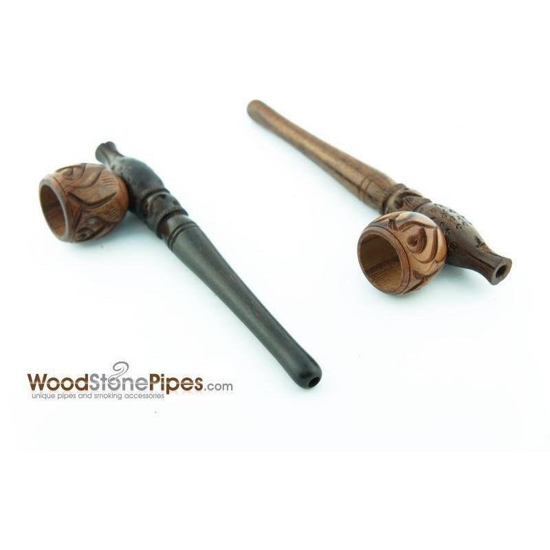 "Smoking Pipe Wood Wooden Mini Smoking Tobacco Pipe - 5"" + 5 Pipe Screens - WoodStonePipes.com   - 6"
