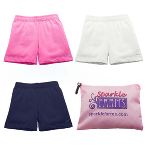 Girls Preppy - Pink, White, Navy - Under Dress and Uniform Cartwheel Shorts Set