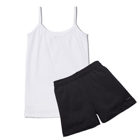 White camisole and black cartwheel short