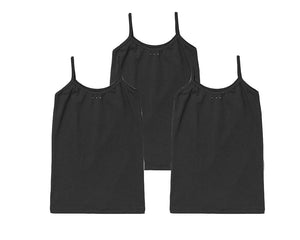 Girls black under uniform camisoles. Buy now at SparkleFarms.com!