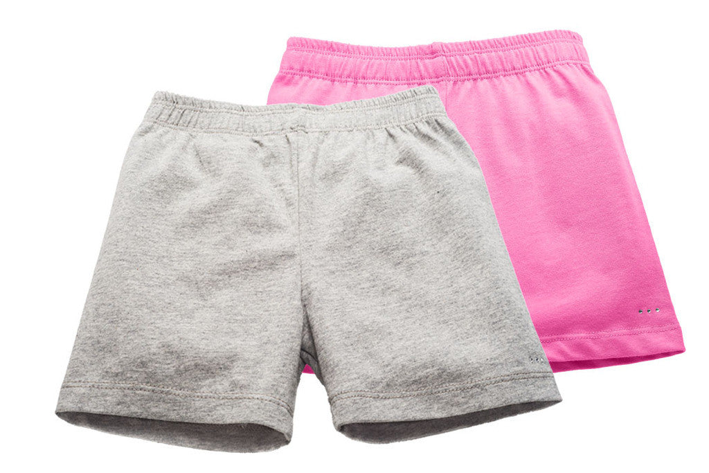 Girls Gray and Pink Playground Shorts 2-pack - Cartwheel Ready!