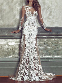 Sexy Lace Embroidered Hollow Round-neck Floor Maxi Dress WHITE M