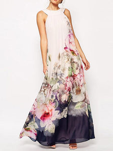 Chiffon Floral Printed Halterneck Sleeveless Maxi Dress S