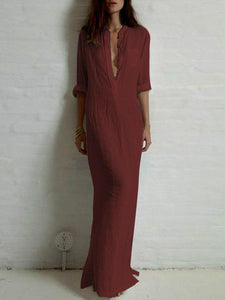 Solid Color Split-side Stand Collar Maxi Dress RED M