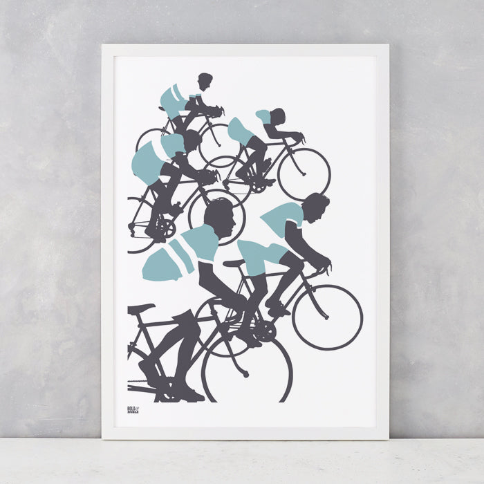 'The Cyclists' Illustrated Art Print in Coastal Blue
