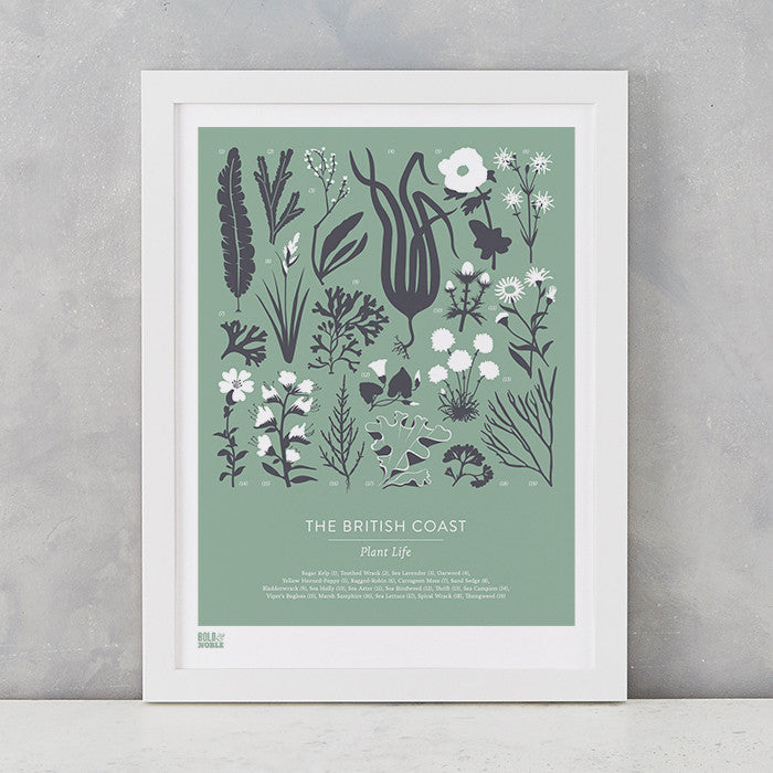 British Coast Plants screen print in seafoam green, recycled card, delivered worldwide