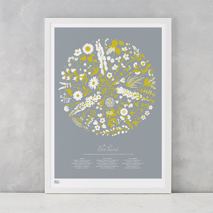 Bee Kind illustrated floral print in yellow and grey, bee friendly artwork ideas, delivered worldwide