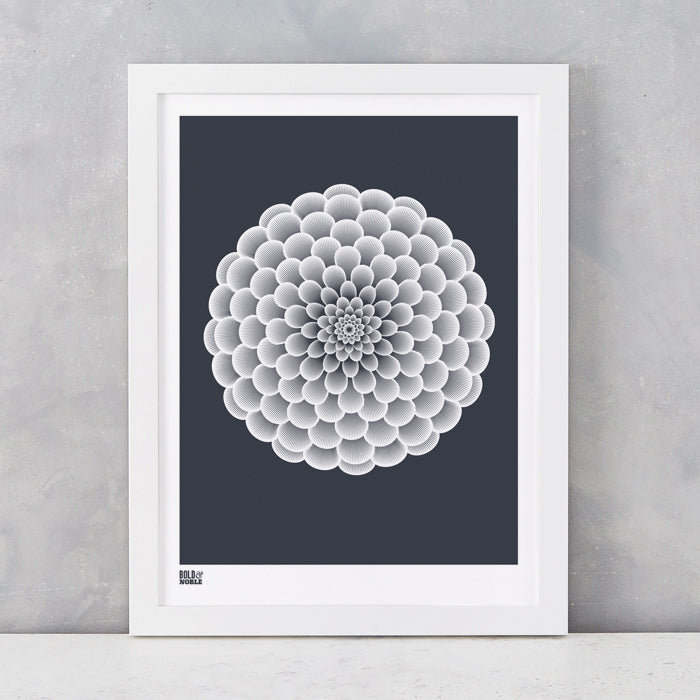 Dahlia Peony screen printed on recycled card, in sheer slate, delivered worldwide
