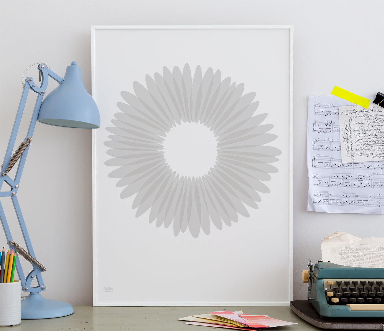 Pictures and Wall Art, Screen Printed Daisy Petals in Chalk Grey