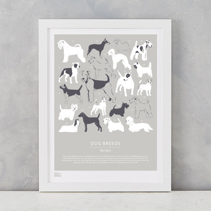 Dog Breeds Print in Putty, Terriers, screen printed on recycled card, delivered worldwide