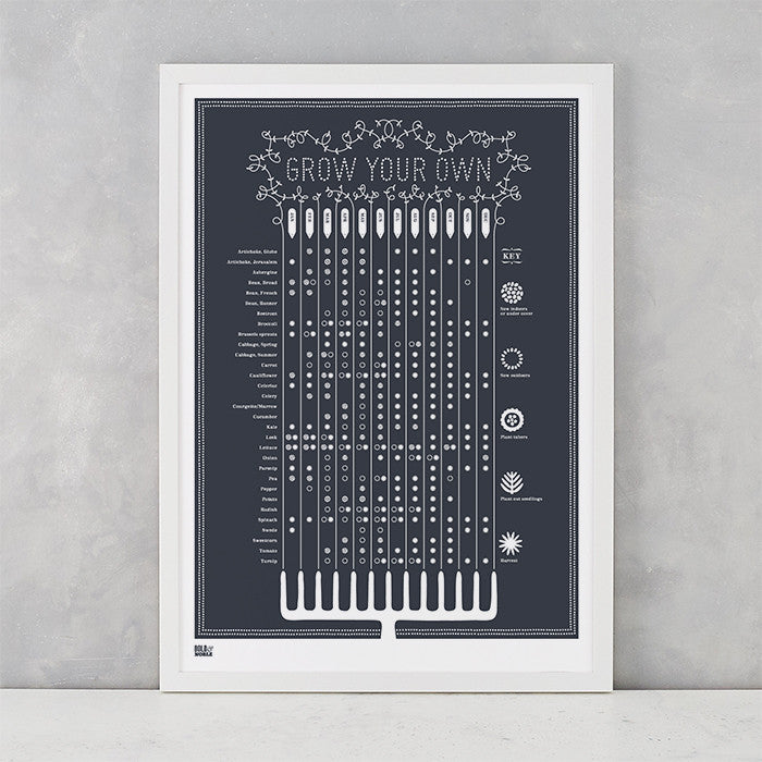 Grow Your Own Planting Guide Print in Sheer Slate, screen printed onto recycled card, delivered worldwide