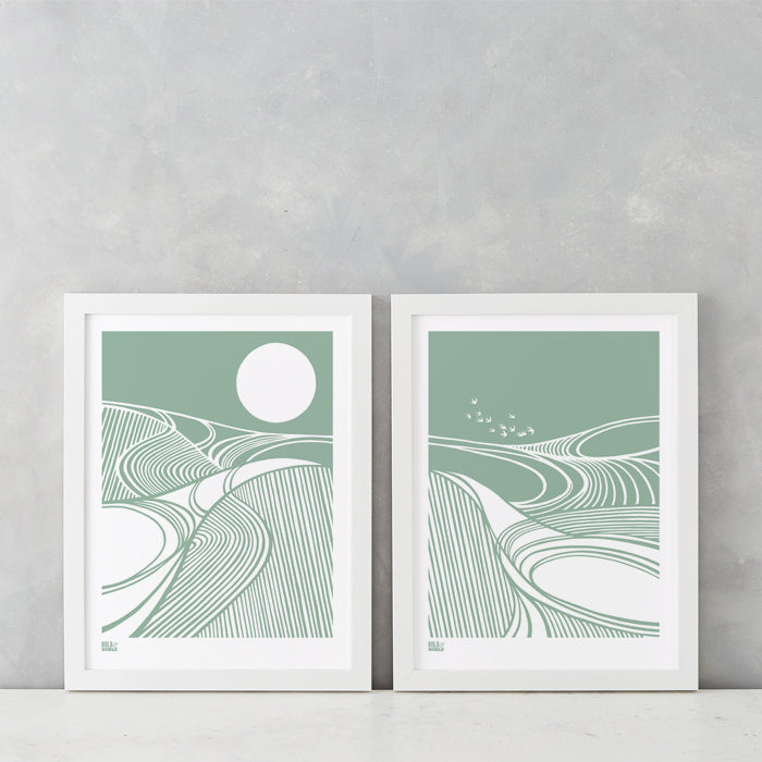 Harvest Moon and Fields set of 2 prints in Seafoam Green, printed on recycled card, delivered worldwide