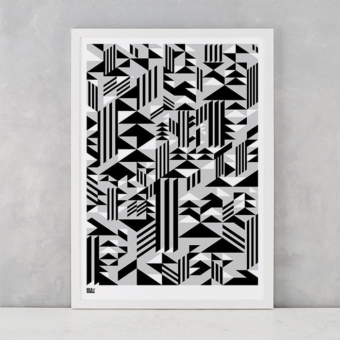 Geometric Higher Screen Print in black and grey, printed on recycled card, delivered worldwide