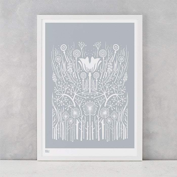 Hedgerow Screen Print in Warm Grey, screen printed onto recycled paper, delivered worldwide