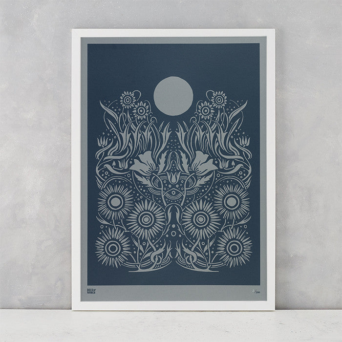 Moonlight Limited Edition Print in Slate Grey, screen printed on recycled grey paper, deliver worldwide