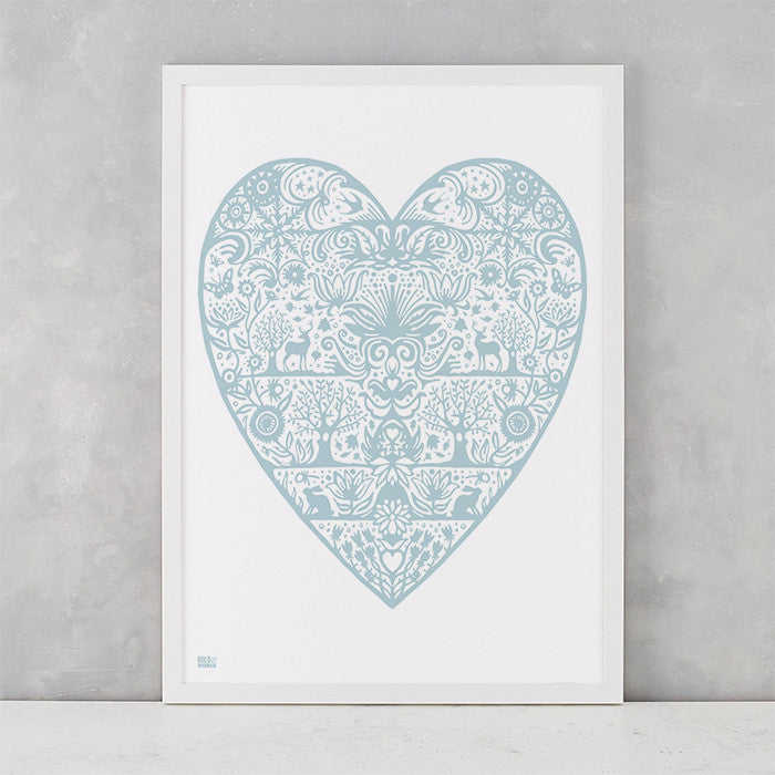 My Heart Print in Duck Egg Blue, screen printed on recycled card, deliver worldwide