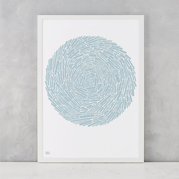 Nest Print in Duck Egg Blue, screen printed on recycled paper, delivered worldwide