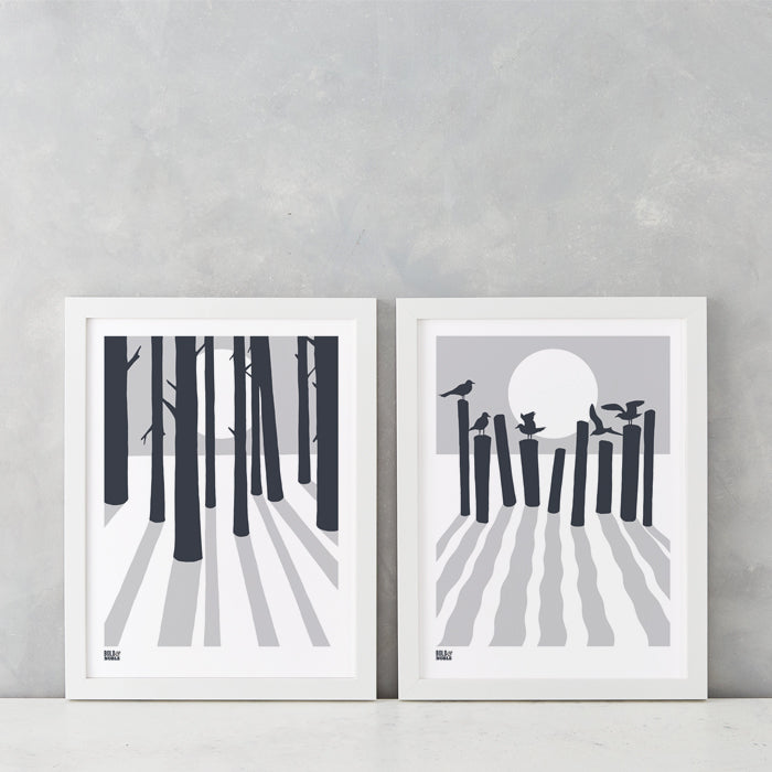 Woods and Beach Silhouette Screen Prints in chalk and dark grey, delivered worldwide