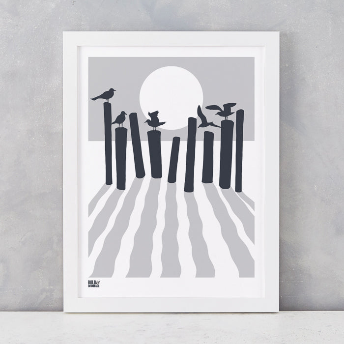 On The Beach in Chalk Grey, screen printed onto recycled card, deliver worldwide