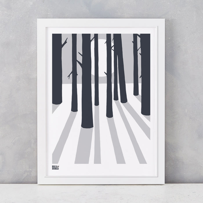 In the Woods screen print in Chalk Grey, screen printed in the UK, delivered worldwide