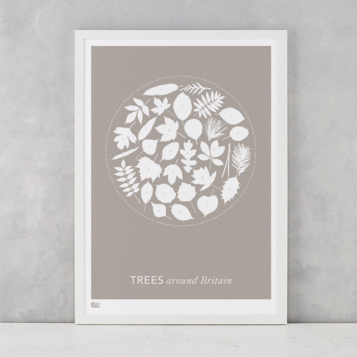 'Trees Around Britain' Art Print in Warm Stone