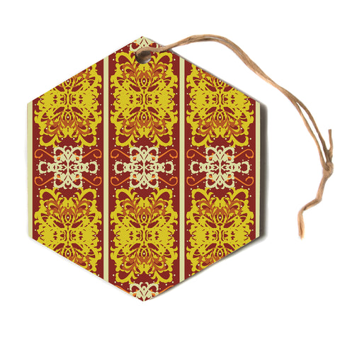 "Mydeas ""Butterfly Dog Damask"" Yellow Red Hexagon Holiday Ornament"