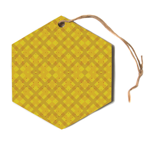 "Mydeas ""Dotted Plaid"" Geometric Yellow Hexagon Holiday Ornament"
