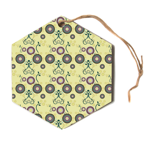 "Mydeas ""Spring Florals"" Yellow Multicolor Hexagon Holiday Ornament"