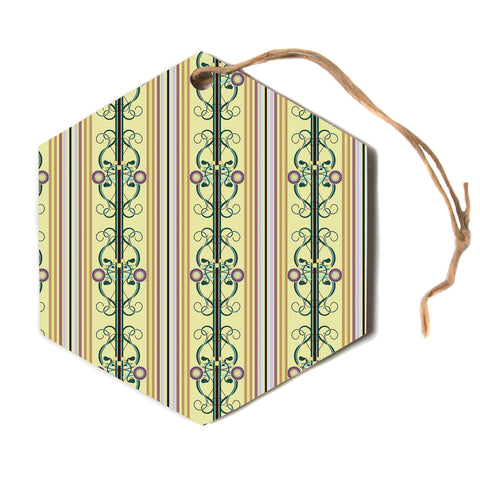 "Mydeas ""Blooming Trellis Pattern"" Yellow Green Vector Floral Pattern Hexagon Holiday Ornament"