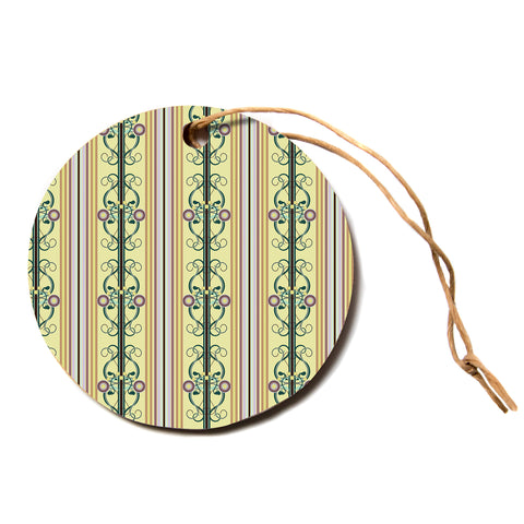 "Mydeas ""Blooming Trellis Pattern"" Yellow Green Vector Floral Pattern Circle Holiday Ornament"
