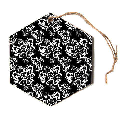 "Mydeas ""Sweetheart Damask"" Pattern Hexagon Holiday Ornament"