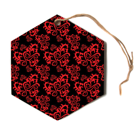 "Mydeas ""Sweetheart Damask Black and Red"" Pattern Black Red Hexagon Holiday Ornament"