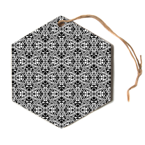 "Mydeas ""Fancy Damask Black and White"" Pattern Black White Hexagon Holiday Ornament"