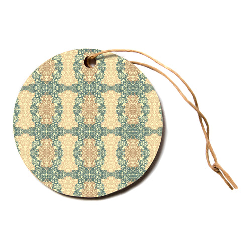 "Mydeas ""Fancy Damask Antique"" Brown Teal Circle Holiday Ornament"