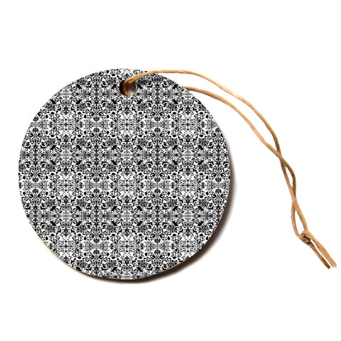 "Mydeas ""Diamond Illusion Black and White"" Gray Circle Holiday Ornament"