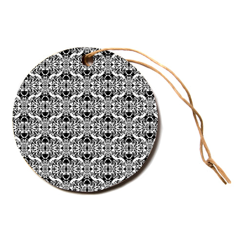 "Mydeas ""Illusion Damask Black and White"" Monochrome Circle Holiday Ornament"