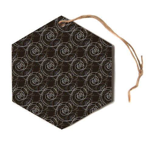 "Mydeas ""Nautical Breeze Spiral"" Brown Pattern Hexagon Holiday Ornament"