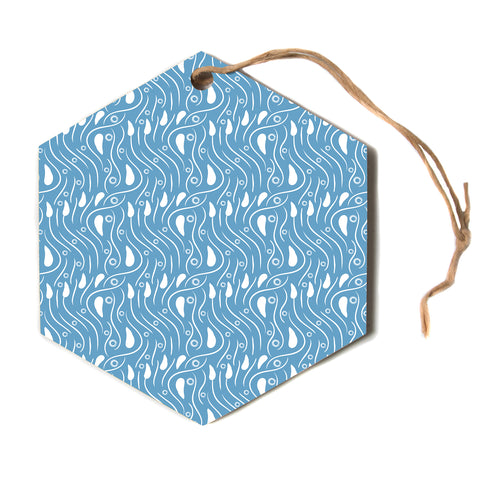"Mydeas ""Dots In The Wind Pattern"" Blue Green Vector Polkadot Nature Hexagon Holiday Ornament"