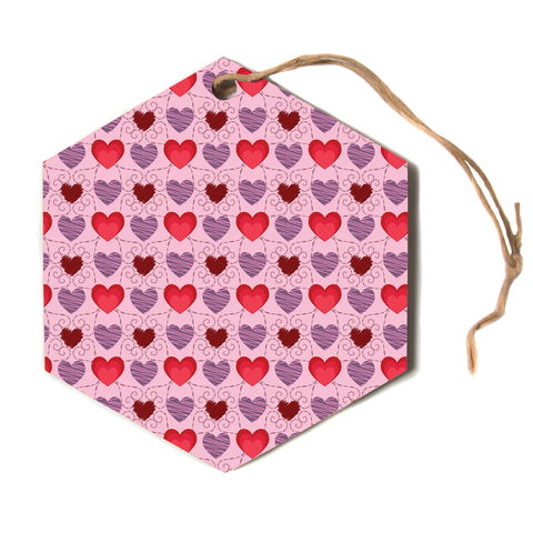 "Mydeas ""Fancy Scribbled Hearts Pattern"" Pink Red Vector Stripes Kids Hexagon Holiday Ornament"