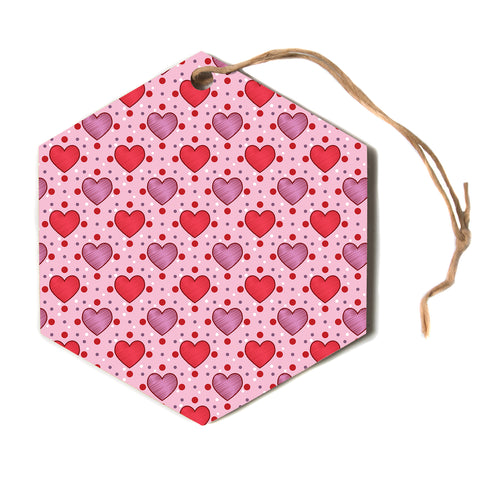 "Mydeas ""Colored Candy Hearts Dotted"" Pink Red Vector Love Kids Hexagon Holiday Ornament"