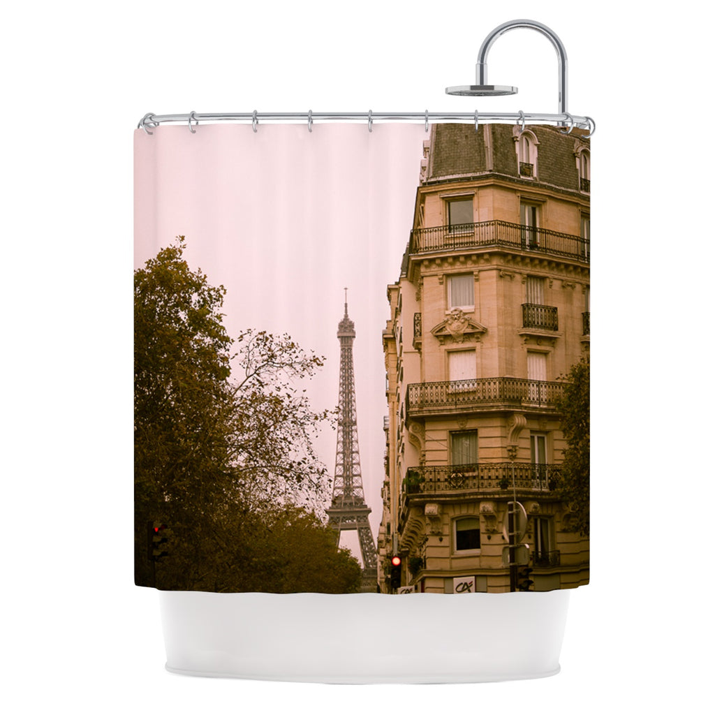"Ann Barnes ""Lady Beckons"" Blush Tan Shower Curtain - Outlet Item"