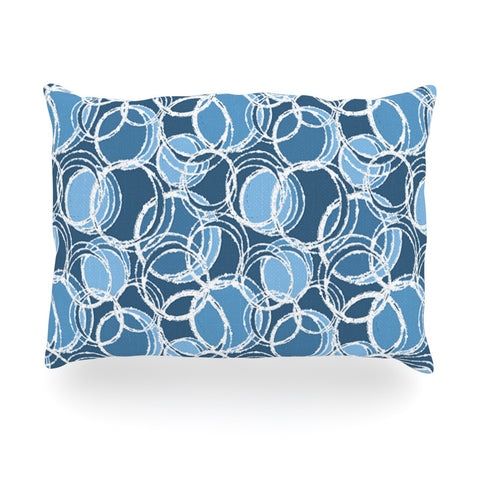 "Julia Grifol ""Simple Circles in Blue"" Oblong Pillow - KESS InHouse"