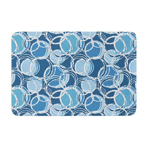 "Julia Grifol ""Simple Circles in Blue"" Memory Foam Bath Mat - Outlet Item"