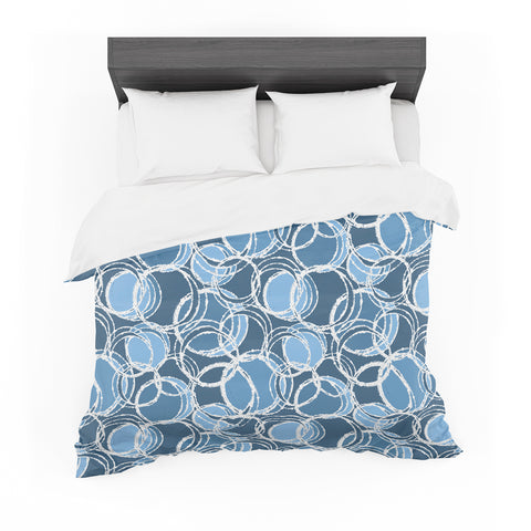 "Julia Grifol ""Simple Circles in Blue"" Cotton Duvet"