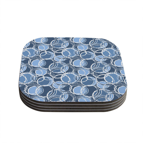 "Julia Grifol ""Simple Circles in Blue"" Coasters (Set of 4)"